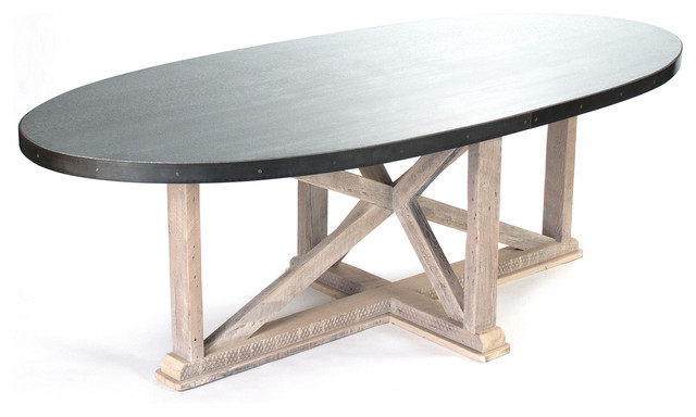 Albertine Zinc Top Solid White Washed Wood Dining Table Tables By Kathy Kuo Home