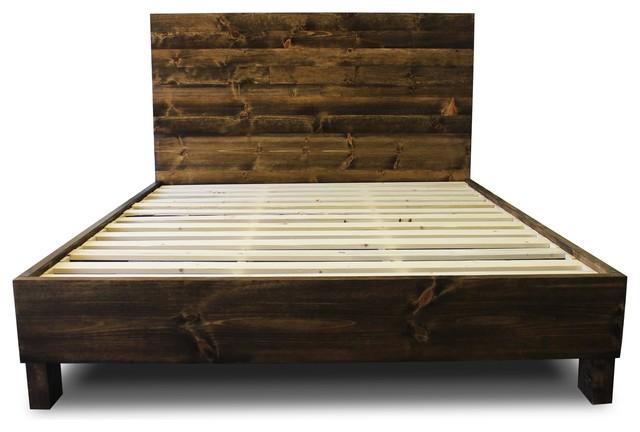 Farm-Style Platform Bed Frame, Dark Walnut, King.