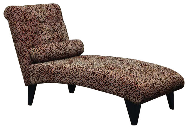Fabric Lounge Chaise, Leopard