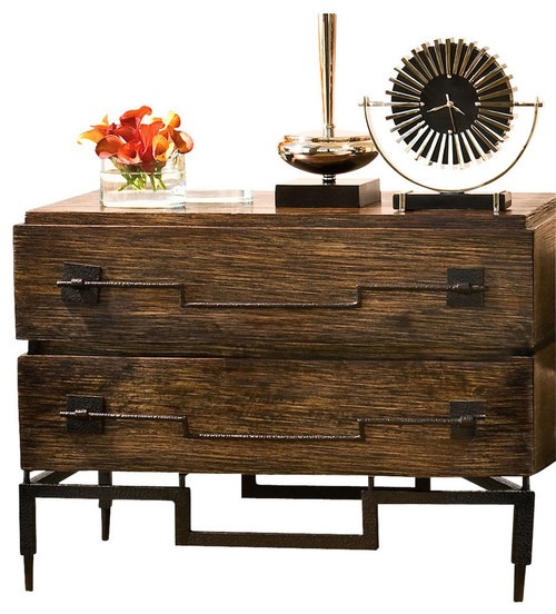 Global Views Mango Wood Wide Chest, 2 Drawer