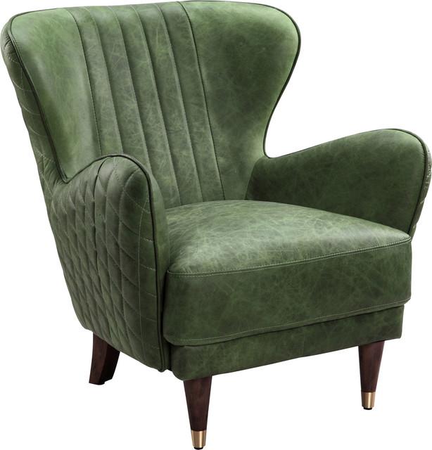 Keaton Leather Arm Chair Emerald Midcentury Armchairs