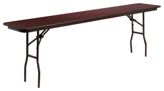 MFO 18'' x 96'' Rectangular Walnut Melamine Laminate Folding Training Table