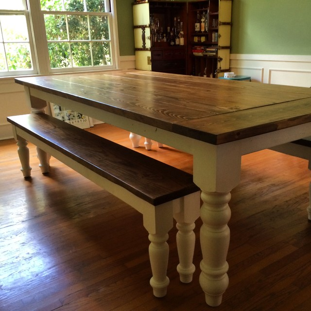 Furniture Legs Los Angeles country farmhouse dining table with oversized spun legs