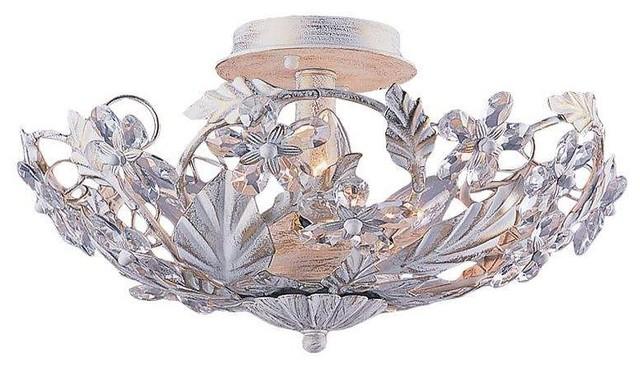 Crystorama Lighting 5316-Aw Abbie Eclectic Semi Flush Mount Ceiling Light.