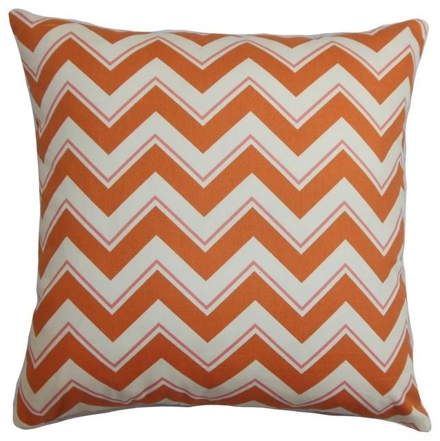 """Deion Zigzag Pillow Orange White 18""""x18"""""""