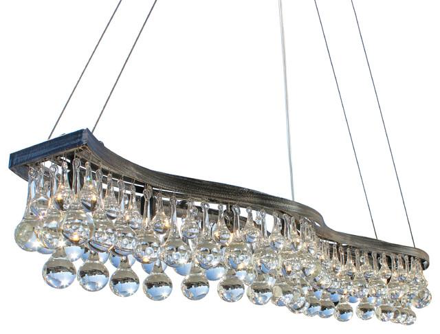 Double S Rectangular Gl Drop Chandelier Antique Silver 48
