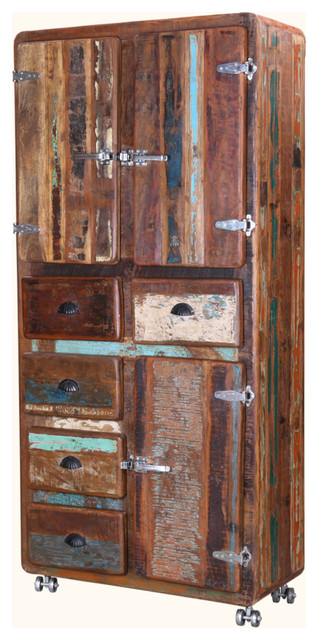 """Fairfax 74"""" Industrial Rustic Reclaimed Wood Rolling Display Cabinet."""