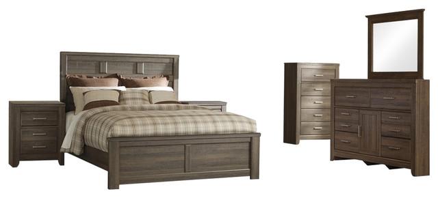 Ashley Juararo 6-Piece Queen Panel Bedroom Set, Brown transitional-bedroom-furniture-sets