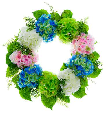 Silk Plants Direct Hydrangea And Fern Wreath, Set Of 2.
