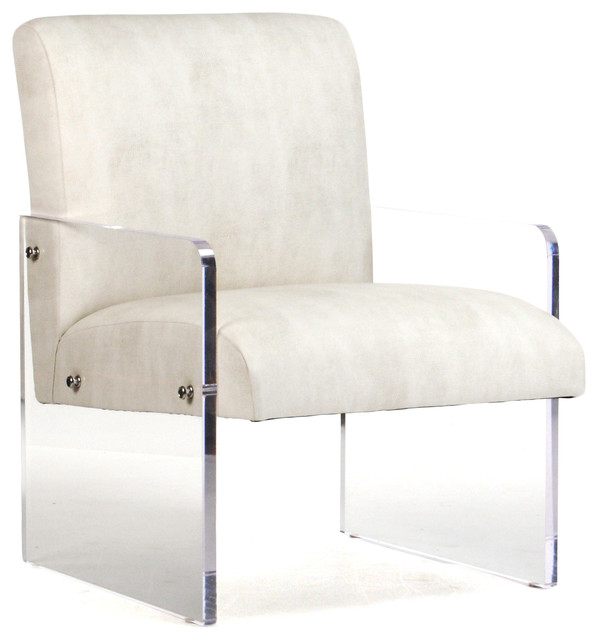 Modern Art Deco Ivory Faux Leather Acrylic Arm Chair  transitional-armchairs-and-accent