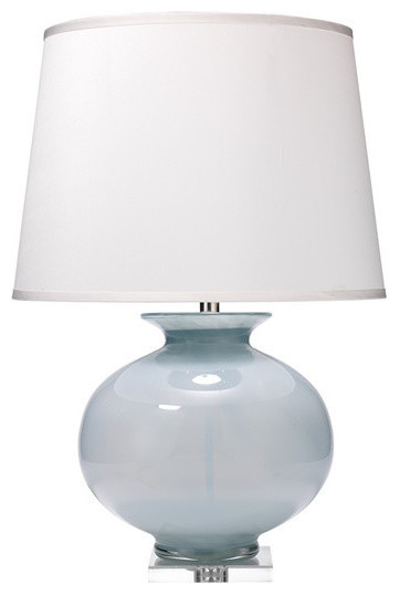 Heirloom Table Lamp In Cornflower Blue Glass, White Silk.