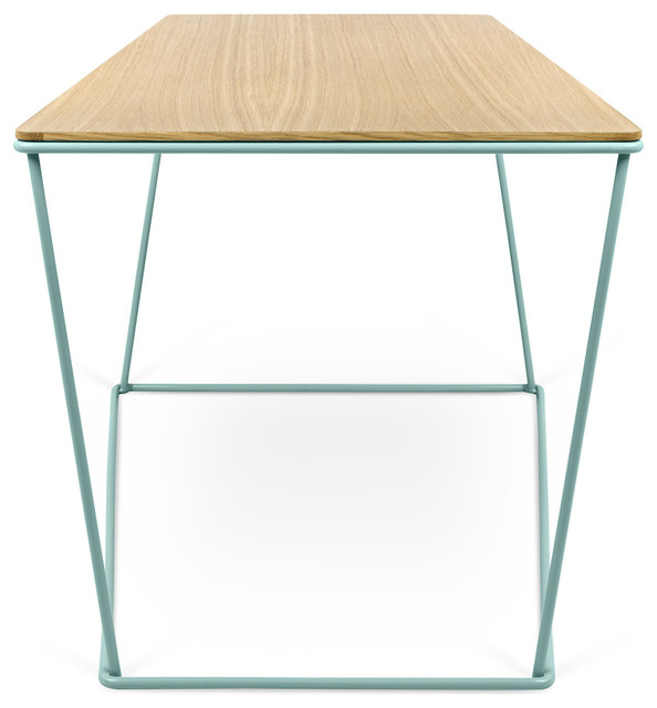 Ordinaire Opal Wide Side Table 201042 OPAL, Oak/Sea Green Lacquered Steel