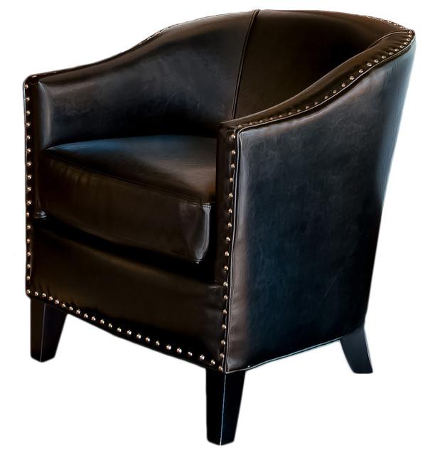 Leather Tub Design Club Chair Black Transitional