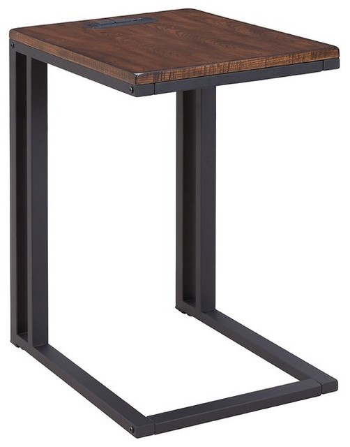 Metal Table With Charging Station, Espresso
