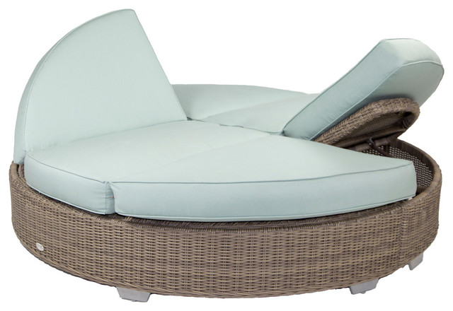 Palisades Round Double Chaise With Sunbrella Cushions Gray White Transitional Outdoor