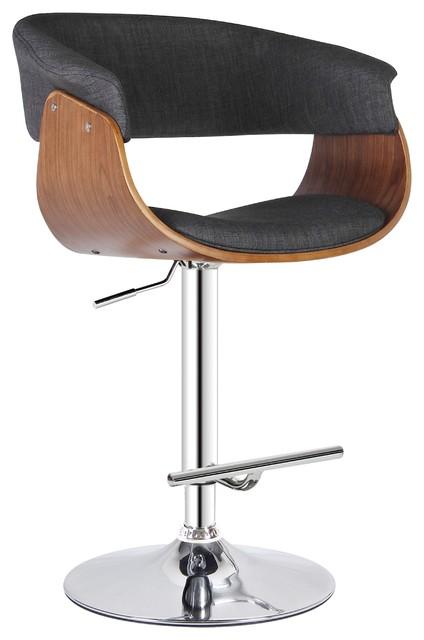 Gray Modern Swivel-Adjustable Barstool With Armrests.