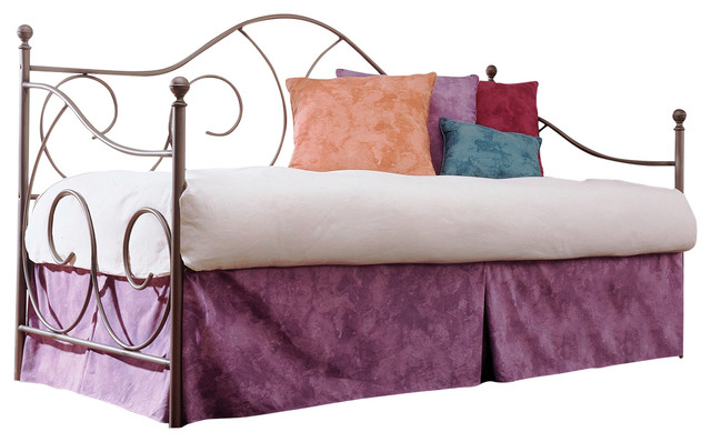 Caroline Metal Daybed With Sloping Back Panel, Twin, Link Spring And Trundle Bed.