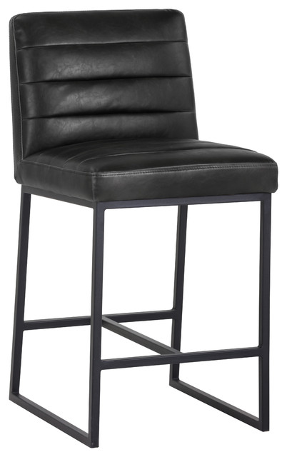 Sunpan Spyros Counter Stool, Coal Black, Black