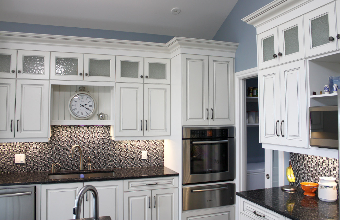 White kitchen with Butcher-Block Table