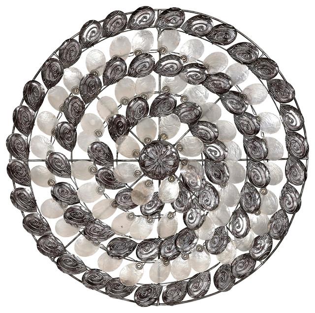 Metal And Capiz S Silver Swirl Wall Art