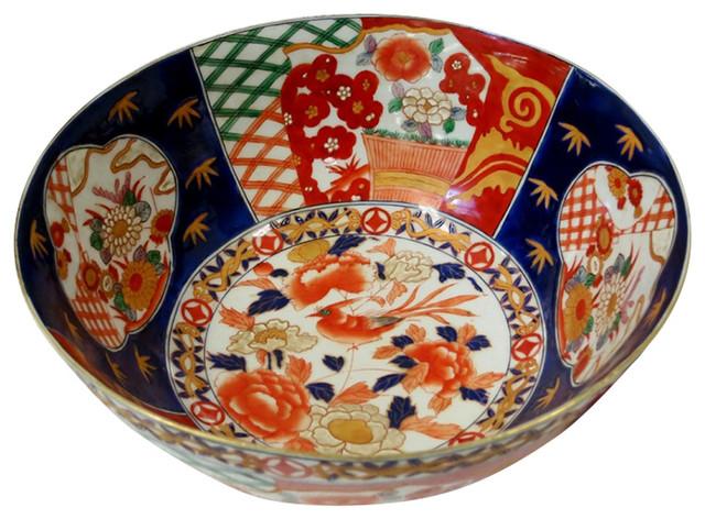 Private Potters Orange And Blue Floral Porcelain Bowl 12