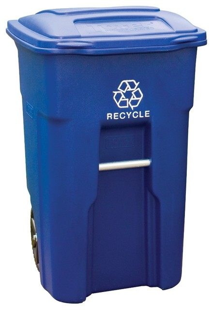 64 Gallon Wheeled Trash Can, Blue Industrial Outdoor Trash Cans