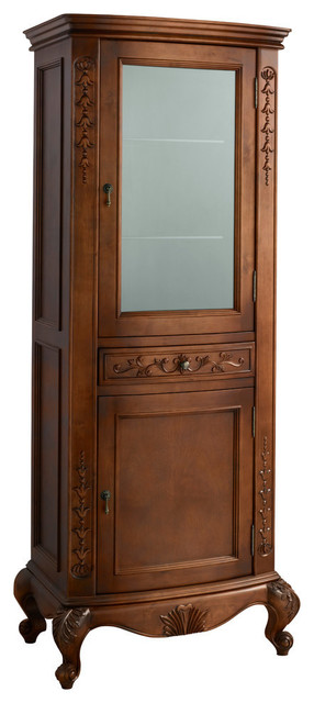Ronbow Bordeaux Curio Cabinet, Colonial Cherry - Traditional - Bathroom Cabinets And Shelves ...