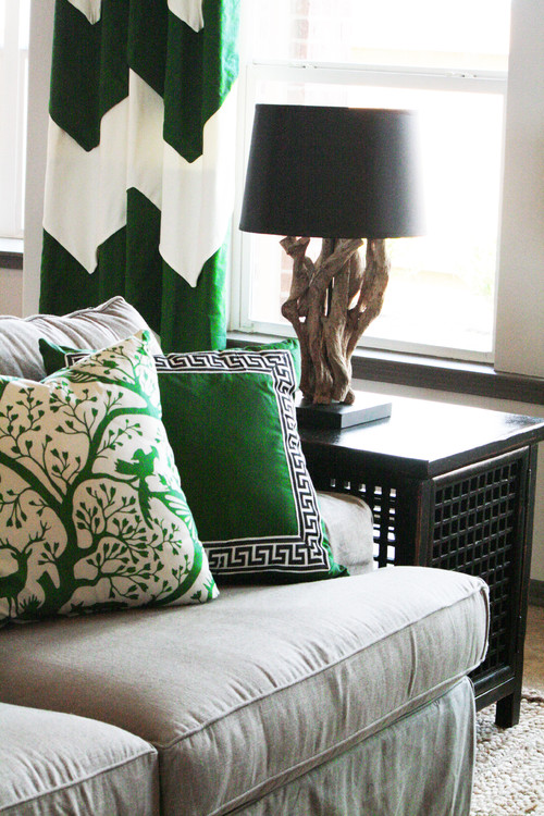 green and neutral family room eclectic family room