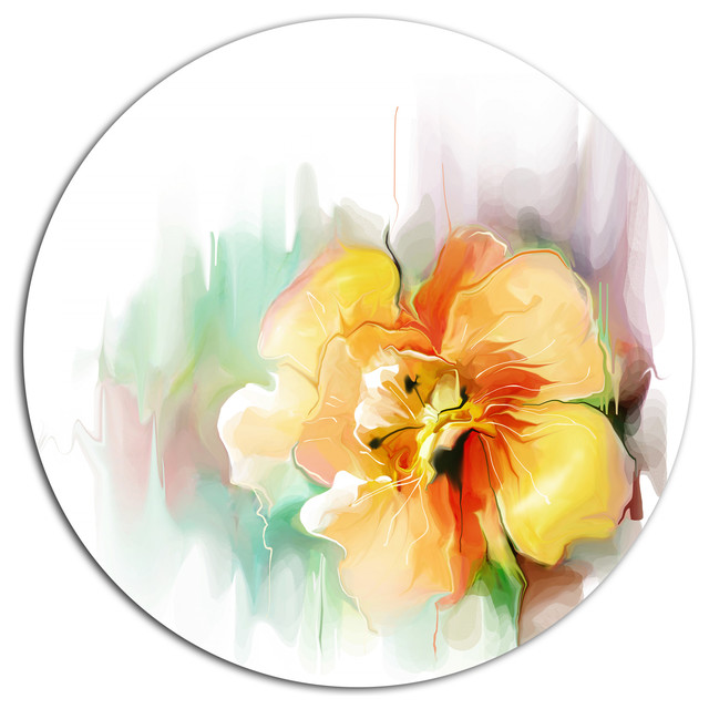 Beautiful Yellow Flower Drawing, Floral Round Metal Wall Art ...