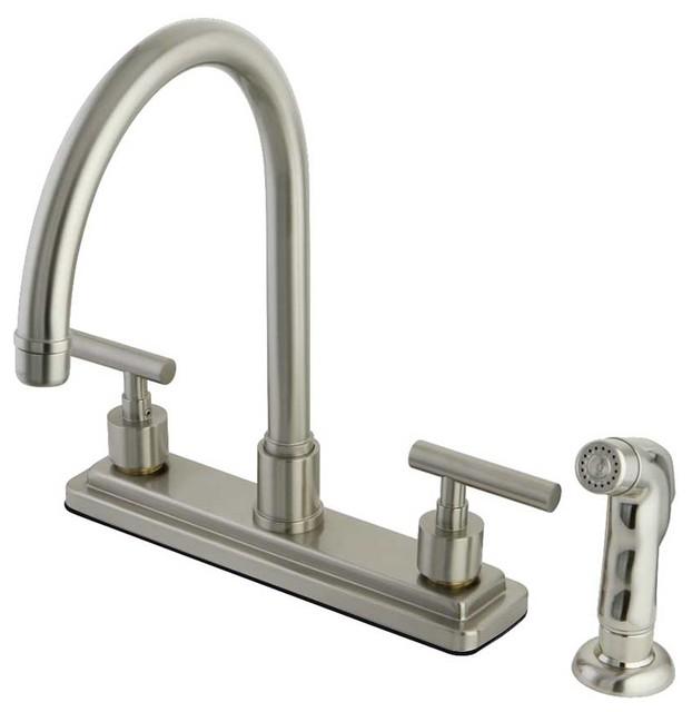 Contemporary Modern Manhattan Satin Nickel Kitchen Faucet