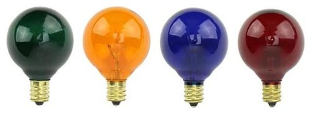 Transparent Multicolor Globe Christmas Replacement Bulbs, 4-Piece Set, 7w/g50