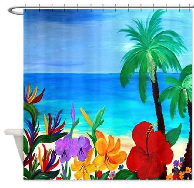 Curtains Ideas beach shower curtain : Tropical Beach Shower Curtain - Beach Style - Shower Curtains - by ...