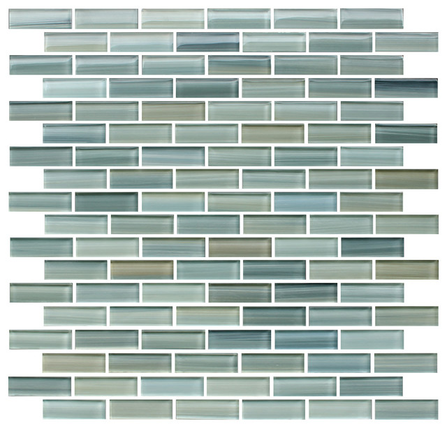 Reflections Hand Painted Glass Mosaic Subway Tile, Sample