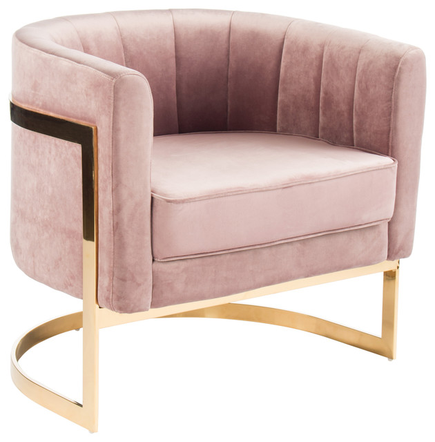 Vivica Velvet Armchair, Blush Pink and Gold - Contemporary ...