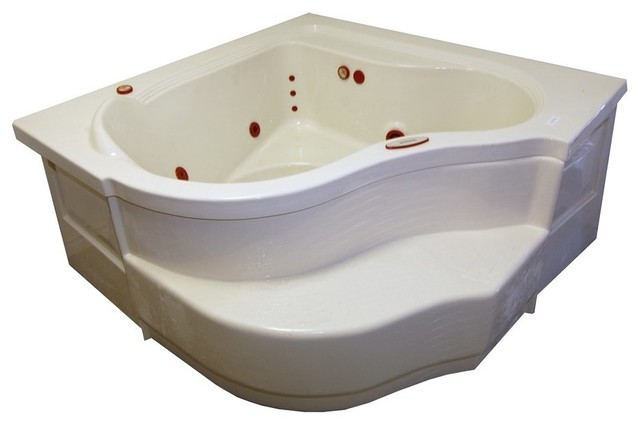 American Acrylic And Injection Corner Soaking Tub, Biscuit.