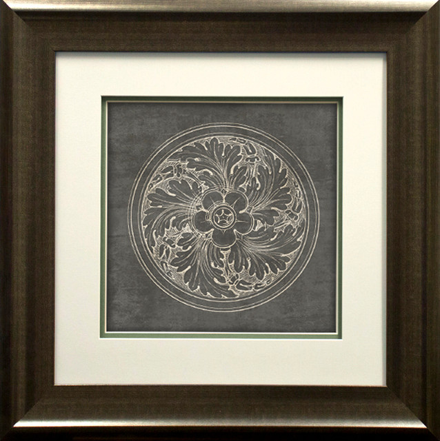 """""""rosette Ii Gray"""" By Wild Apple Portfolio, Double Mat Spacer, Pewter, 26""""x21""""."""