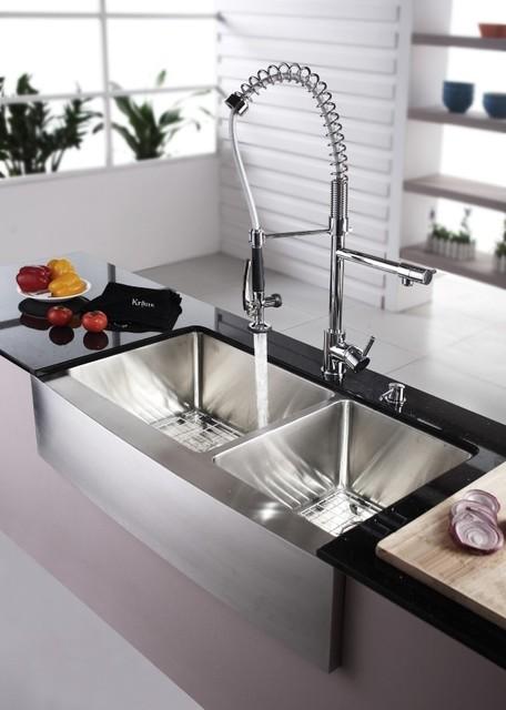 36 Inch Farmhouse Sink White : Kraus KHF203-36-KPF1602-KSD30CH 36 inch Double Famhouse Sink and ...