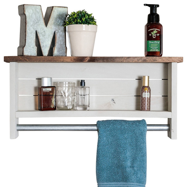 Bathroom Shelf With Towel Bar, Whitewash by Drakestone Designs