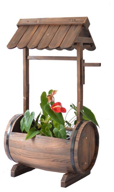 Master Gardner Half Barrel Wishing Well Planter