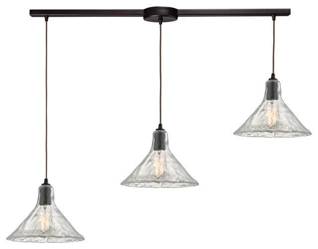 elk lighting hand formed glass pendant w 3 lights in oil rubbed bronze industrial