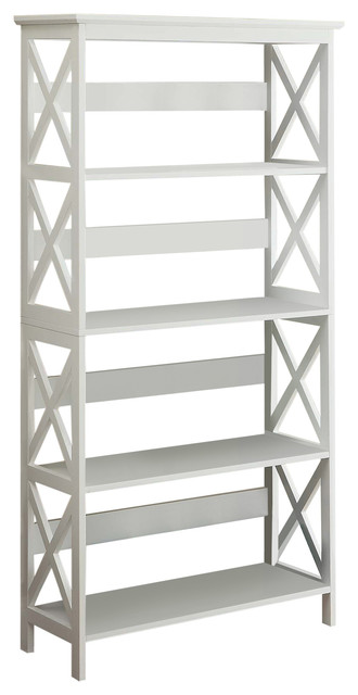 Oxford 5 Tier Bookcase White