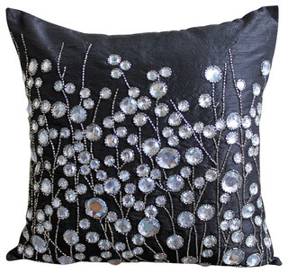 Black Art Silk 16x16 Rhinestones And Crystals Pillowcases, Black Crystal Garden - Contemporary ...