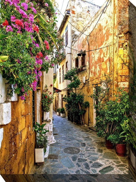 Outdoor Canvas Wall Art.West Of The Wind Outdoor Canvas Wall Art Chania Alley