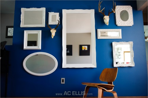 Mirror and Head Wall eclectic living room