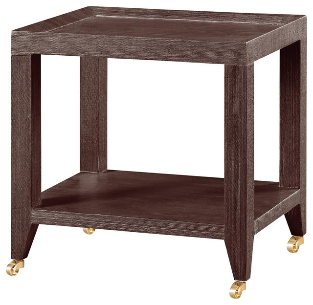 Delen Modern Classic Brown Grasscloth Rolling Tea Table Modern Side Tables  And