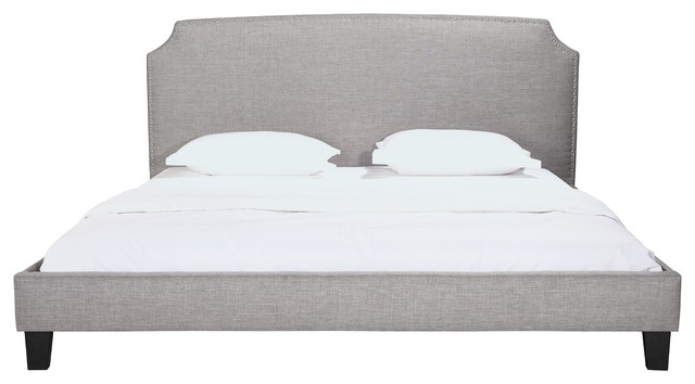 Edith Gray Upholstered Panel Bed With Headboard And Nailhead Detail, Queen, King.