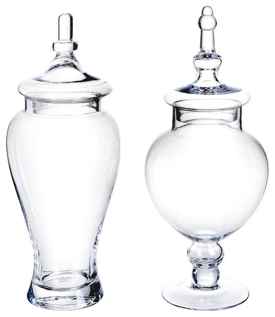 Mygift large decorative glass apothecary jars set of 2 for Designer glass jars
