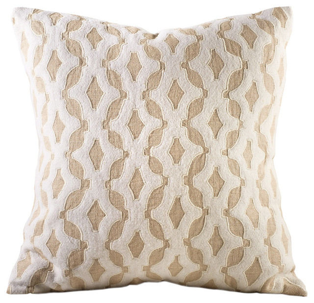 Decorative Pillows Feather : Shop Houzz Chauran Anna Felt and Linen Feather Pillow - Decorative Pillows