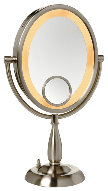 Modern Nichel Table Top Lighted Make Up Mirror.