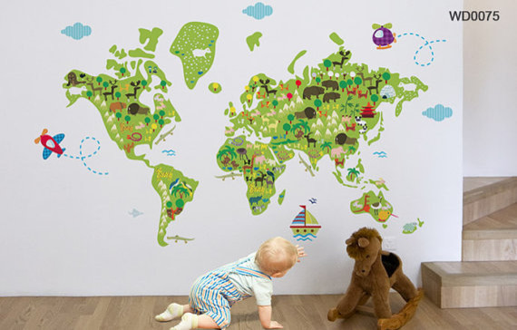 Map Of The World Kids Wall Sticker - Kids world map wall decal